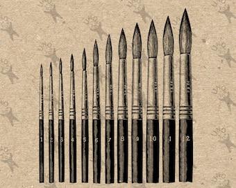 Vintage Art Supplies Brushes Clip Art Design Transfer Digital File Instant Download DIY for t-shirt , bag , stickers, pillow cases, etc