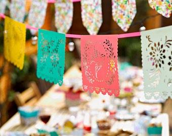 Papel Picado Fiesta Party Banner | Fiesta Decor Fiesta Birthday Mexican Wedding Bridal Fiesta Mexican Fiesta Quinceanera Dio de Los Muertos