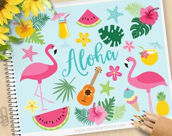 Flamingo Clipart - Summer, beach, Tropical plants, ice-cream, cocktails, pink hibiscus, Commercial use, Vector Clip Art, SVG Cut  files