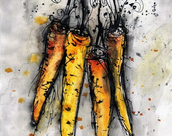ink painting - A4 -  8x12in - food art - bunch of carrots - kitchen art