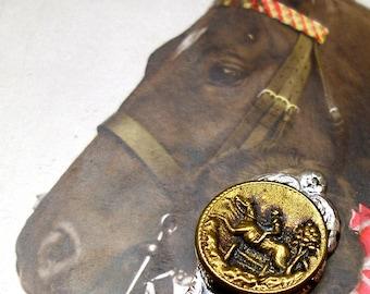 Horse, Antique BUTTON Bookmark, Victorian equestrian sporting button on silver. Present, gift.