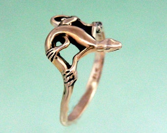 Lizard Ring 14k Gold Size 3 to 5