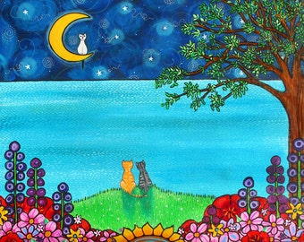 Cats full Moon flowers trees Ocean Print Shelagh Duffett