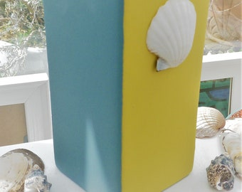 Sun. Seaside inspired two tone grey-blue and yellow vase