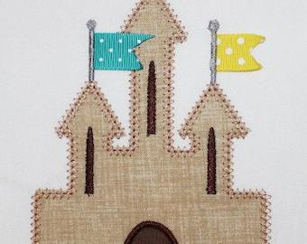 Beach Ribbon Sand Castle Embroidery Design Machine Applique