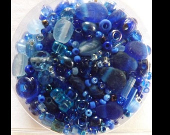 Deep China Blue Bead Soup Starter Variety of Seed Beads Embellishment Quilting Sewing