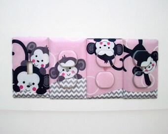 Girls Monkey Nursery - Monkey Light Switch Cover - Pink Grey Nursery Decor