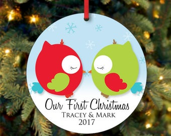 Our First Christmas Ornament, Owl Ornament, Personalized Christmas Tree Ornament, Couples Ornament, Custom Ornament, 2017 Ornament (0004)
