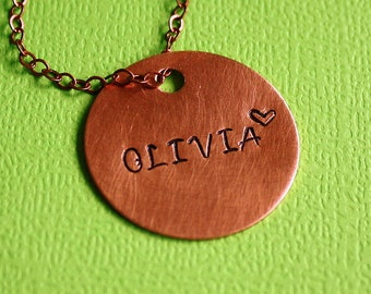 Copper Disc Necklace - Hand Stamped Jewelry - Gift - Custom Name Pendant - Personalized