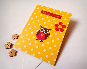 Owl Birthday Card - Handmade Greeting Card -  Handmade Owl Birthday Card - Birthday Cards - Owl Greeting Card - Handmade Owl Card - Owl Card