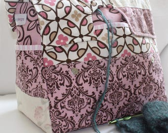 Pink and white, Knitting Bag, patchwork, hand-made, large, Vinyl Yarn Dispensing Interior, Storage, 12 pockets, Diaper bag, yarn, crochet