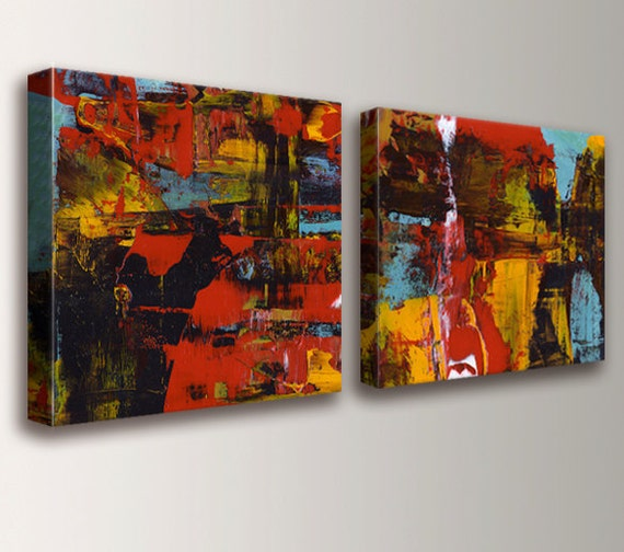 """Abstract Red Painting - Panel Art -  Canvas Prints - Wall Art Set - Abstract Art - Home Decor - """"Medley"""""""