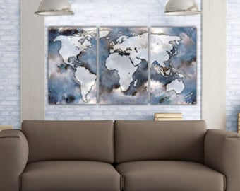 large world map art on canvas gallery wrap canvas world map canvas 3 panel or single large map wall art blues brown tan