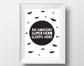 Superhero Decal, Printables, Superhero Wall Art, Batman Party, Batman Print, Superhero Print,  Batman Wall Art, Modern Wall Art