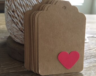 Large Kraft Tags with Heart Embellish ~ Wedding, Anniversary, Packaging