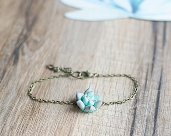 Mint succulent bracelet - succulent jewelry - terrarium jewelry - floral jewelry - minimal bracelet - nature inspired jewelry - botanical