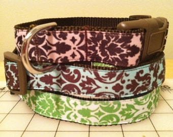 Light Pink, Teal or Green Damask Large Dog Collar