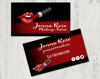 Makeup Artist Business Card Design- PDF business card. Printable