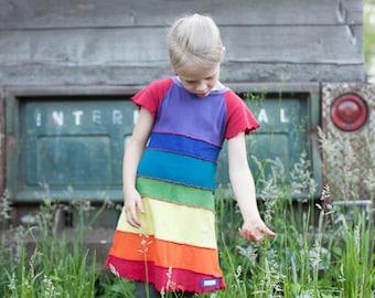 Rainbow dress, upcycled rainbow dress, girls rainbow dress, reverse seams, summer dress, upcycled dress, rainbow dress girls, t-shirt dress