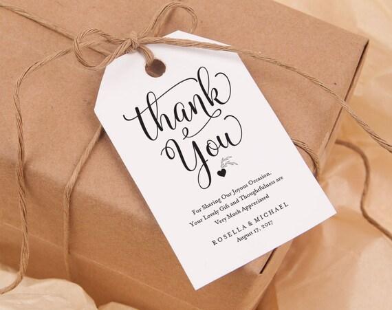 Thank You Tag Gift Tags Wedding Thank You Tags Wedding