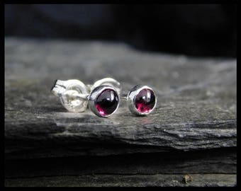 January birthstone earrings - Natural pink garnet gemstone cabochon, 5mm,  sterling silver bezel, second earrings, 234