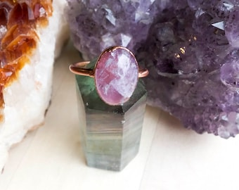Oval Amethyst and Copper Ring Size 8