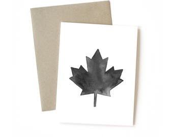 Maple leaf card etsy maple leaf black ink greeting card canada 150 travel card bookmarktalkfo Images