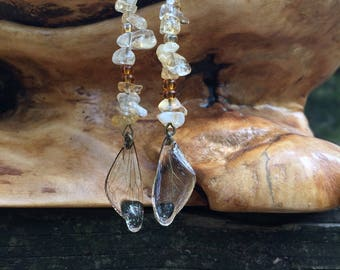 Quartz Stone Crystal Cicada Wing Earrings, Real Cicada Wings, Resin Art, Dog Day Cicada, Fairy Wings, Faerie Wings, Preserved Wings, Insect