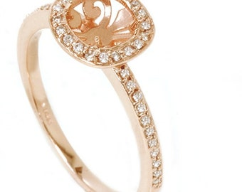 Diamond .30CT Engagement Halo Ring 14K Rose Gold Setting