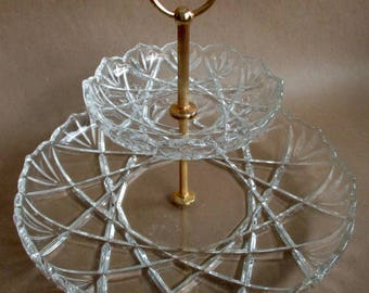 Vintage Cut Glass Tiered Serving Tray, Tidbit Tray, Snack Tray, Crystal