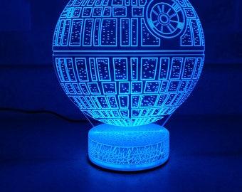Death Star 3D Night Lamp, 3D Night Light Children Light Home Decor Illusion Romantic light