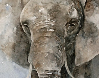 from original art elephant painting elephant PRINT Large PRINT elephant art print elephant print Watercolor Painting watercolour giraffe SET