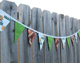 Green Bay Packers fabric banner Football party bunting Tailgate decoration