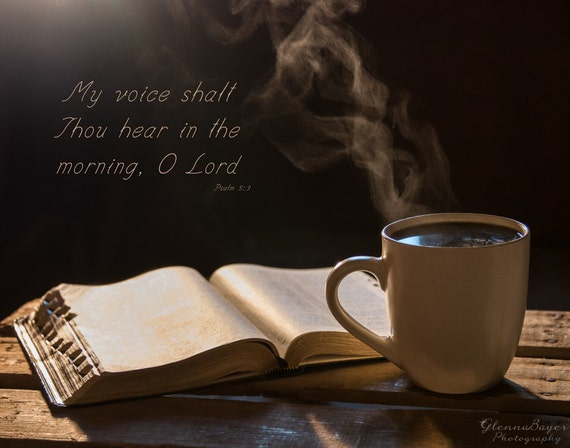 Morning Coffee And Bible Scripture Wall Art On Canvas Home