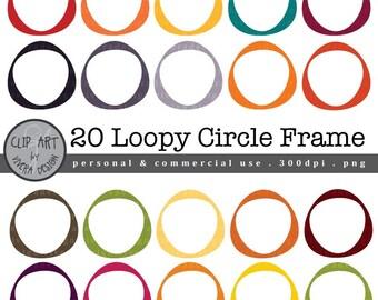 Loopy Circle Frames - 20 Modern Super Versatile Frames - Digital Clip Art