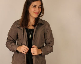 Light weight, slate grey mac, spring showers, ladies, small