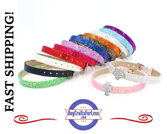 Sequin Glitter 8mm Bracelet- fit 8mm Slider Letters and Charms +FREE Shipping & Discounts*