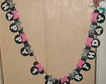 Minnie Mouse Happy Birthday Banner with zebra and pink bows