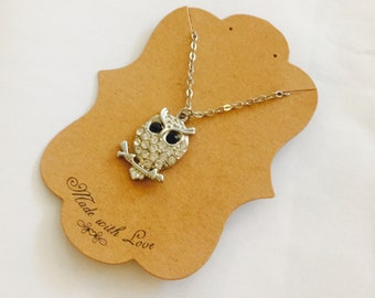 Silver owl animal necklace