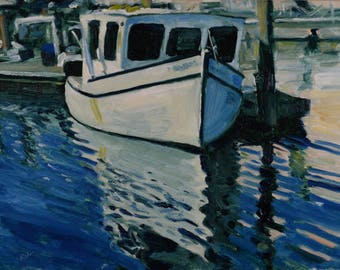 Original Oil Painting, Boat, Gloucester, by Robert Lafond