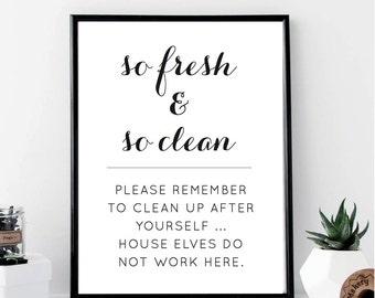 So Fresh & So Clean House Elves Print // Minimalist Poster // Wall Art // Fashion // Typography  // Scandinavian // Boho // Modern // Gift