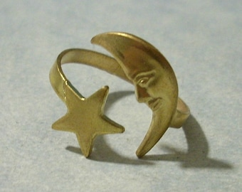 Vintage Brass Moon and Star Ring Adjustable Moon Ring Brass Ring