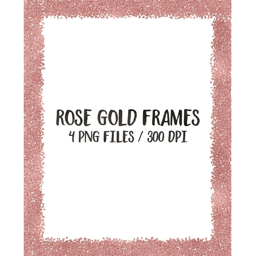 Rose gold digital frames clip art, glitter frames cliparts, frame ...