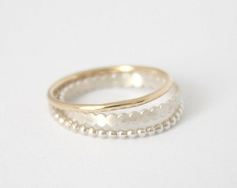 Tiny 9k solid gold and 925 sterling silver bands, Set of 3 delicate stacking rings, Dainty minimalist stackable ring Valentines gift SAMENA