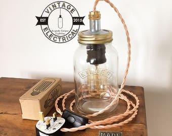 Le cuivre Kilner pot mason table lumière industriel vintage uk de lampe à incandescence edison brancher lampe cordon e27 es vis de laiton Bureau rustique