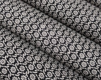 Vintage, black with white floral, wool kimono fabric - by the yard