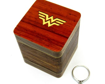 Engagement ring box Wonder woman Wood ring box Unique ring case Wedding ring box Jewelry box Rustic Gift for her Small wooden box