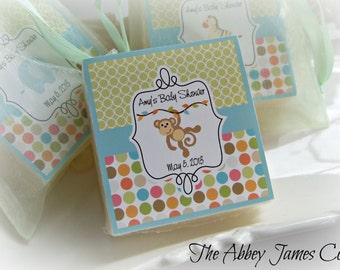 Baby Shower Favors, Safari , Baby Shower Soap Favors, Monkey Baby Shower set of 12