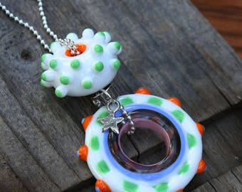 Handmade Glass Lampwork Necklace with Sterling Silver Chain and Artisan Charms