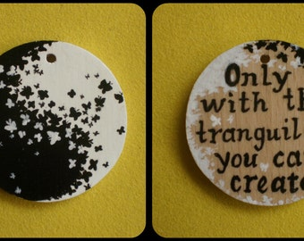 Yin Yang necklace Inscription Yin Yang gift Painting on wood Hand painted Black and white Miniature painting Butterfly OOAK Small painting